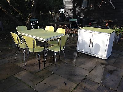 1960s French Retro Formica kitchen set table, chairs and cupboard