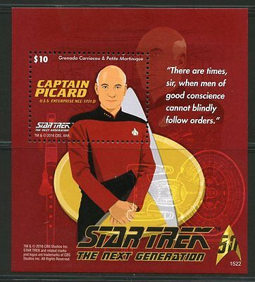 Grenada Grenadines 2016 Star Trek The Next Generation Catain Piccard S/s Mint Nh