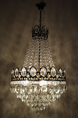 Antique French Basket Style Brass & Crystals 5 Tiers HUGE Chandelier 1950's