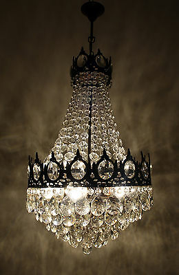 Antique  French Basket Style Brass &  Crystals LARGE Chandelier Ceiling Lamp