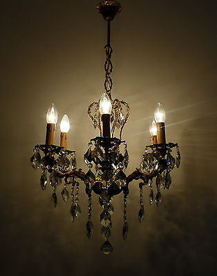 Antique 6 Armed Brass & Crystals Beautiful Cherub Chandelier Ceiling Lamp 1950's