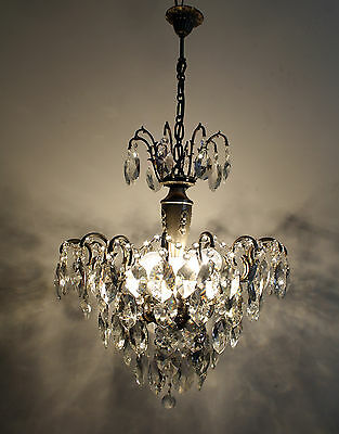 Antique French Spider Style Silver Tone Brass & Crystals Chandelier Ceiling lamp