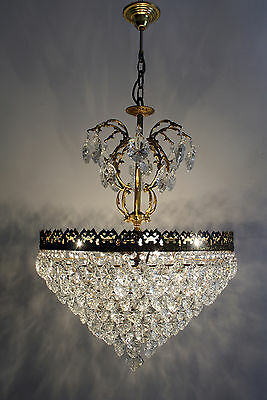 Antique --- Vintage  French Basket Style Brass &  Crystals  Chandelier Lamp
