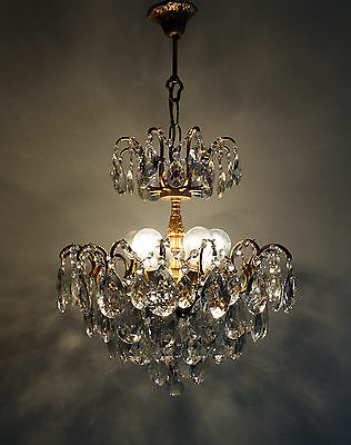 Vintage / Antique  Spider Style Brass &  Crystals  Chandelier Ceiling Lamp