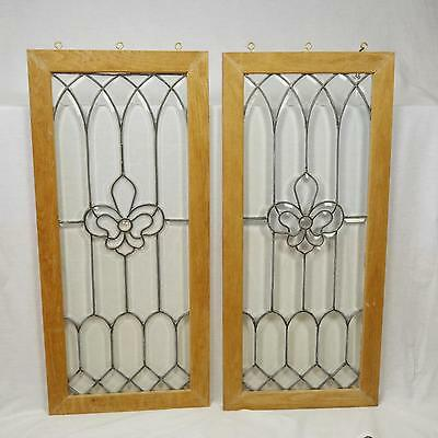 Matching Antique Lead Glass Windows (2pcs) each 40 3/16' x 18 3/16""