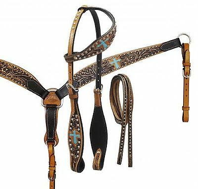 Hand Painted Western Leather Single Ear Bridle & Breast Collar New Horse Tack