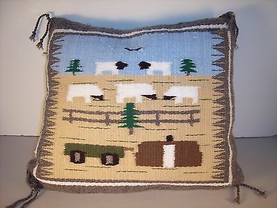 Hand Woven Navajo Pictorial  Lifestyle Pillow with 5 Sheep by Cecelia Curley NEW