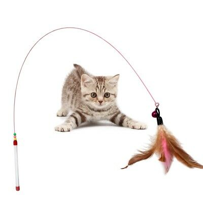Wire Chaser Kitten Cat Pet Toy Wand Teaser Feather Bell Beads Play Fun +D-ring