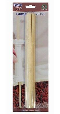 PME 12 Pack 12 Inch Bamboo Wood Decorating Tiered Cakes Dowel Rods Supports