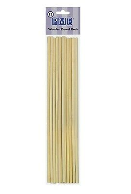 PME 12 Pack 12 Inch Wooden Decorating Tiered Cakes Dowel Rods Supports