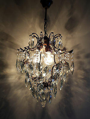 Antique / Vintage  Cage  Style Brass & Crystals Chandelier from 1940's