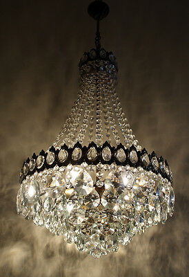 Antique French Basket Style Brass & Crystals HUGE Chandelier from 1950's RARE !