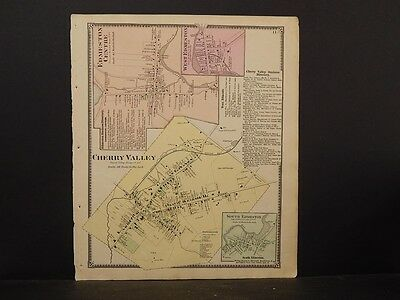 New York Otsego County Map 1868 Town of Cherry Valley N4#78