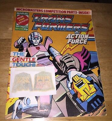 Transformers British Weekly #234 Marvel 1989 With Free Gift
