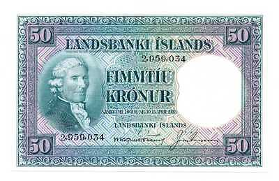 Iceland Republic Landsbanki Islands 50 Kronur 1928 (1948-56) UNC #34a