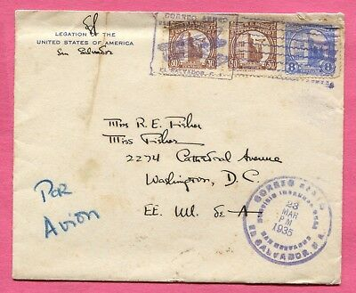 1935 El Salvador Legation Of The United States Corner Air Mail Cover To Usa