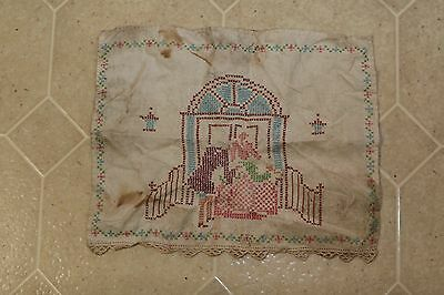 Vintage Embroidery Cross Stich Colonial Couple Courting Presenting Stained