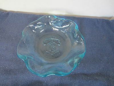 Heavy Blue Glass Brach's Since 1904 Logo Clamshell Fluted Edge Candy Dish