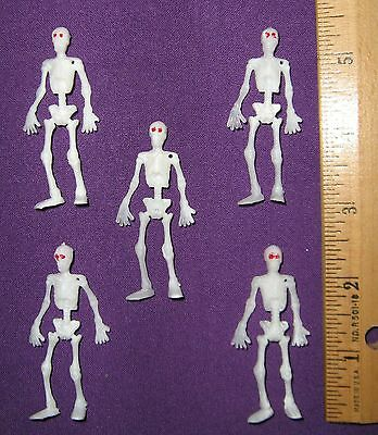 "Fairy Garden / Dollhouse Miniature Halloween Tiny Skeletons  Lot of 5 (2"" tall )"
