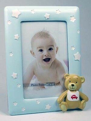 Baby Boy Blue Teddy Bear Picture Photo Frame KEEPSAKE Christening Birth Gift