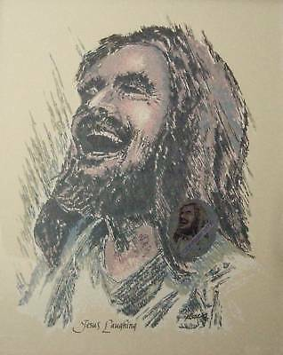 Jesus Laughing Religious Picture Print Christian Art 8.5 X 11 NEW