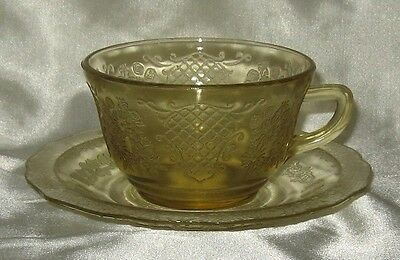 Federal Normandie Lattice Bouquet Amber Cup and Saucer