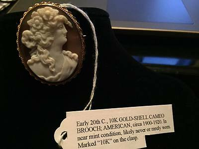 Antique Cameo Pendant Brooch GOLD Pink Shell Excellent Condition Circa 1900-1920