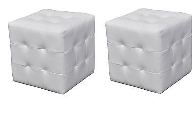 New 2pcs Leather Ottoman White Cubed Bedside Foot Stool Seat Blanket Box Chairs