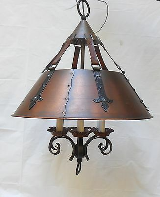 Vintage Copper & Wrought Iron Hanging Ceiling Light Chandelier Western 19x46""