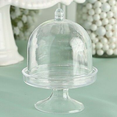 20 Clear Mini Cake Stand Cupcake Favor Wedding Container Plastic Party Candy Box