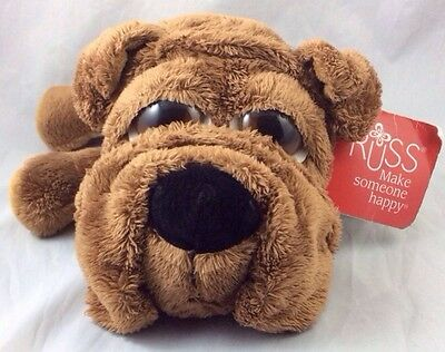 Puddie Brown Puppy Dog Russ Berrie Lil Peepers Plush Doll Big Eyes Shar Pei 9""