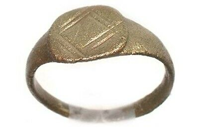 AD200 Ancient Roman Provincial Pamphylia (Turkey) Geometric Engraved Ring Size 5