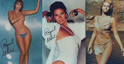 Raquel Welsh 3x Pre Printed Stunning Signed Photo Collection