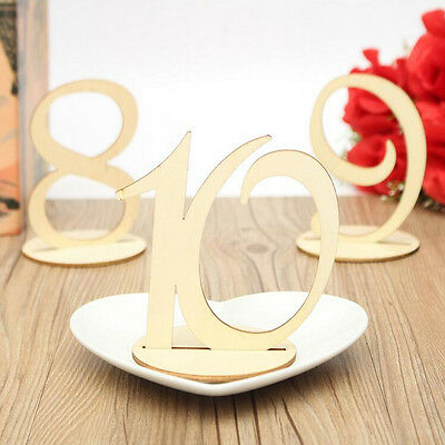 Wooden Table Numbers 1-20 Set With Base Wedding Birthday Party DIY Craft Decor