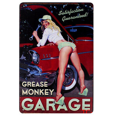 Pin Up Girl Lucky Lady Sexy Garage Casino Poker Vintage Retro Metal Tin Sign