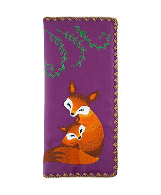 New LAVISHY Checkbook Wallet RED FOX Vegan Leather Embroidery PURPLE Baby Cub