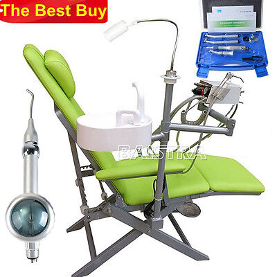 New Dental Portable Folding Chair with Turbine +High/Low Speed Handpiece Kit