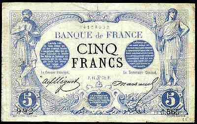 France. Five Francs, 14108992. 14 June 1872. Good Fine.