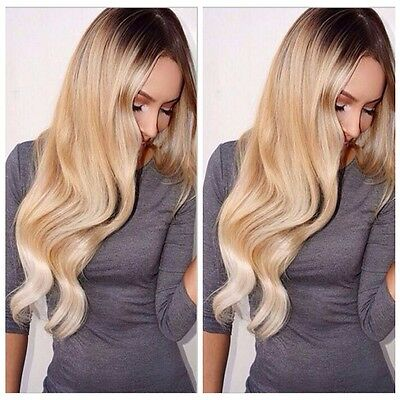 Women Long Curly Wavy Cosplay Black Mix Blonde Synthtic Ombre Hair Full Wigs New