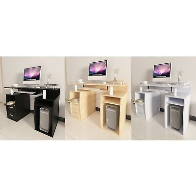 FoxHunter  Computer Desk PC Table With Shelves Drawers Home Office Study CD05