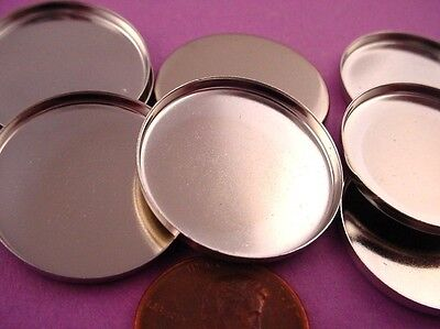 silver tone Round Bezel Cups 25mm High Wall - 8 Pieces
