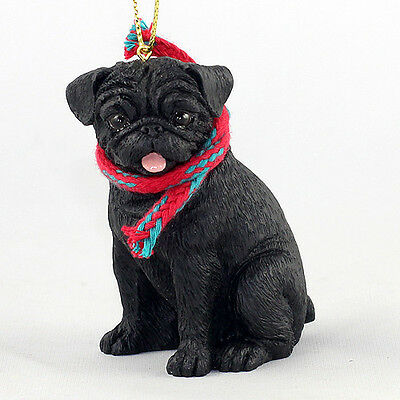 PUG Dog w/ scarf ORNAMENT Resin Figurine NEW black puppy Christmas Holiday