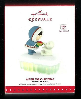 Hallmark 2015 A Fish for Christmas Frosty Friends Ornament Magic Light/Sound New