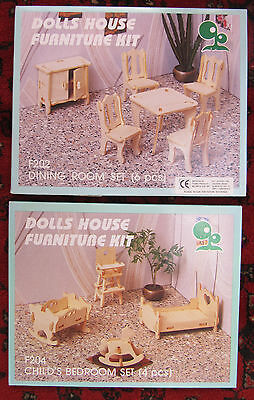 2 NEW KITS - DOLLS HOUSE FURNITURE Wood Dining Room & Child's Bedroom Crib Chair