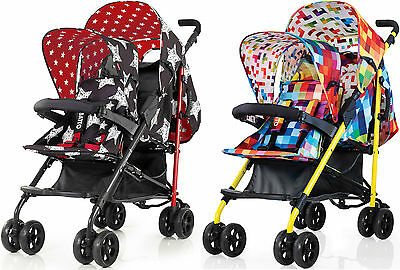 Cosatto SHUFFLE DOUBLE STROLLER with Footmuff & Raincover Hipstar/Pixelate BN