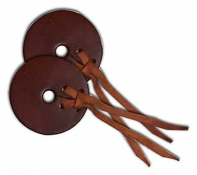 "PAIR of Medium Oil LEATHER Bit Guards 3"" Size Prevents Rubbing New Horse Tack"