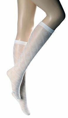 3 Pairs New Girls Women White Knee High Patterned Pop Socks One size P10