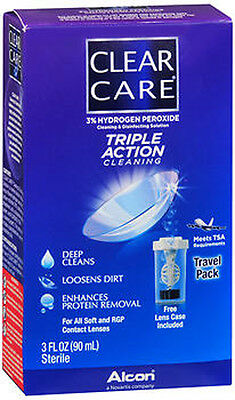 Alcon Clear Care Triple Action Cleaning 3oz Contact Solution - Travel Pack