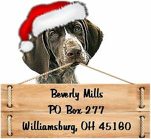 German Shorthaired  Christmas return address labels DIE CUT TO SHAPE