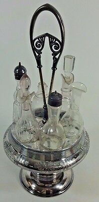 Victorian Rogers Smith Silver Plate and Etched Glass Cruet Set 6 bottles